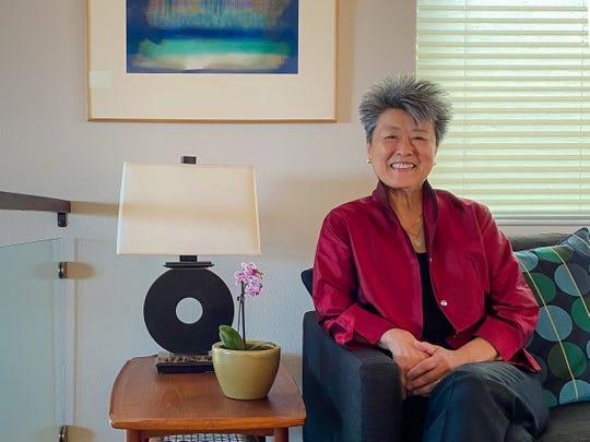 Journalist and activist Helen Zia poses for a portrait in her home in Oakland, Calif., taken by partner Lia Shigemura under the direction of USA TODAY photographer Hannah Gaber on July 28, 2020.