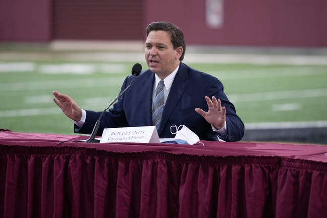 Gov. Ron DeSantis speaks during a collegiate athletics roundtable at the Albert J. Dunlap Athletic Training Facility on the Florida State University campus Tuesday, August 11, 2020.