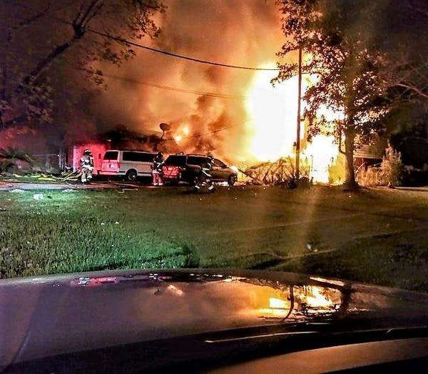 Firefighters take on the flames at Westside Christian Home Care at First and Huron streets in April. [Jacksonville Fire and Rescue Department]