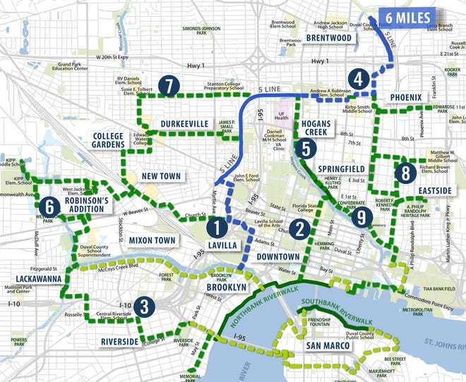 A six-mile route from Jacksonville's downtown to the Northside, shown in blue, would be part of the 30-mile Emerald Trail planned to be developed over the coming decade. The broken blue line by the number 4 is the route of the S Line Connector.