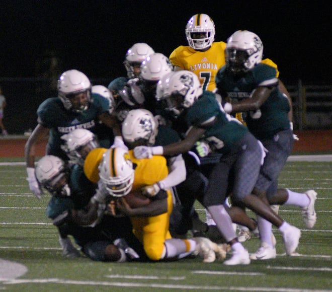 The Plaquemine defense holds back Livonia in Week 1 action last year at Andrew Canova Green Devil Stadium. The fate of the 2020 season remains uncertain during the coronavirus.