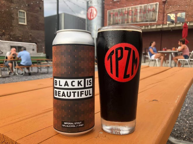Trapezium Brewing Co.'s Black is Beautiful beer interpretation, released on June 27, 2020, served on the patio in Petersburg on Monday, Aug. 10, 2020.