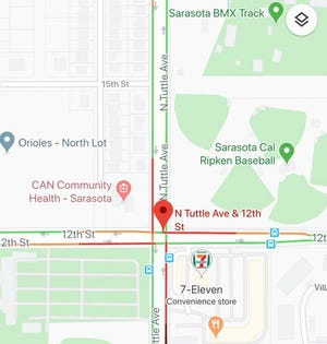A gas leak closed the intersection of 12th St. and N. Tuttle Ave. in Sarasota on Aug. 11, 2020.