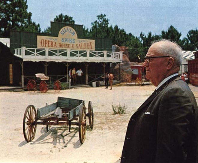 J. E. Churchwell surveys his domain at Ghost Town in Long Beach Resort. This photo was originally published in Florida Trend magazine in the late 1960s, with an article describing Churchwell's development efforts. His influence was not limited to local development; he served as president of the Florida Realtors Association and provided leadership statewide.