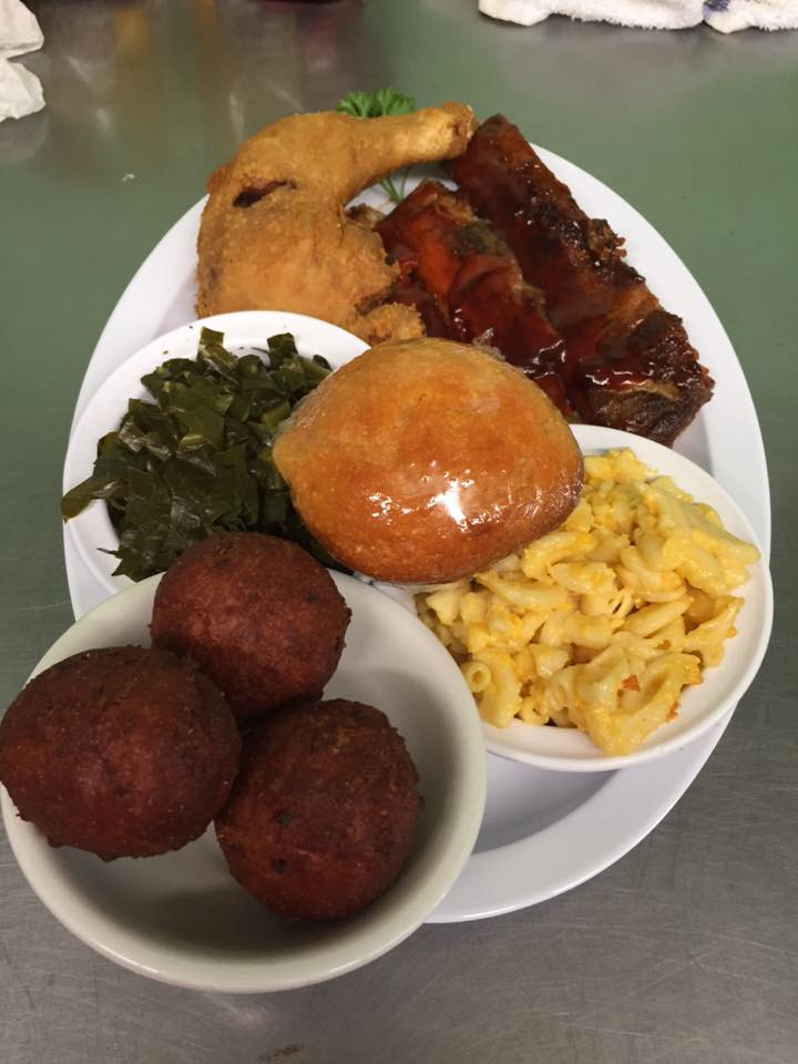 A meal of fried chicken, ribs, macaroni and cheese, hush puppies, collard greens and a corn muffin at Jameson's Southern Cooking in Neptune.