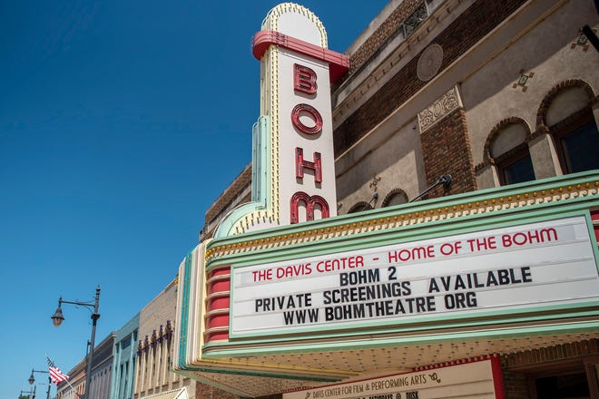 A private screening room is available to rent for a party of no more than ten people inside the historic Bohm Theater, pictured on Tuesday, Aug. 11, 2020 in Albion, Mich.