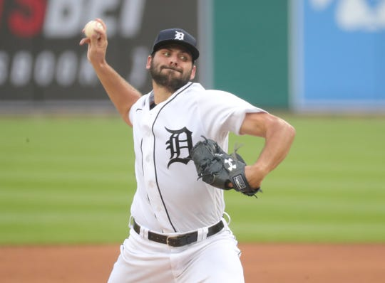 Tiger Michael Fulmer is on the field against the White Sox during his second entry into Comerica Park on Monday, August 10, 2020.