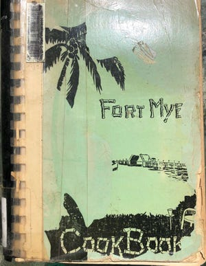 "The battered cover of the 1951 ""Fort Myers Cookbook"""