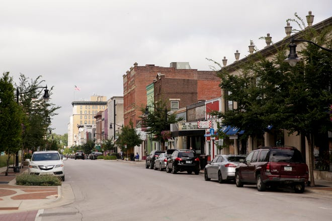 A look down Main Street towards 6th Street, Tuesday, Aug. 11, 2020 in Lafayette.