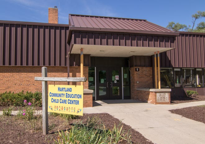 Two women are charged with embezzling from the Hartland Community Education Child Care Center, shown Tuesday, Aug. 11, 2020.