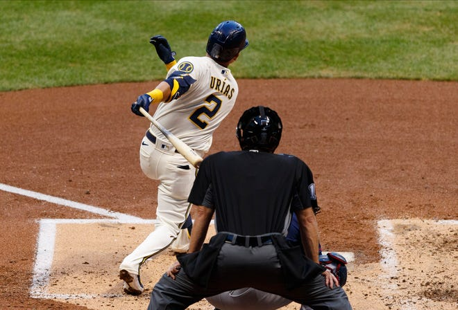 Luis Urias made his debut for the Milwaukee Brewers on Monday night against the Twins.