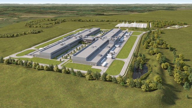 A rendering of Facebook's future data center in Gallatin.