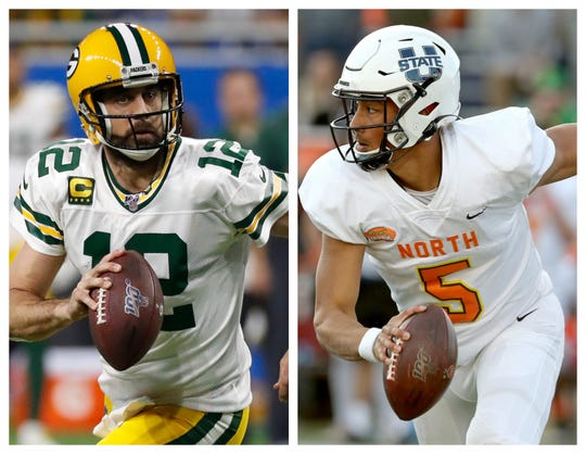 Green Bay Packers quarterbacks Aaron Rodgers, left, and Jordan Love, a 2020 first-round draft pick out of Utah State.