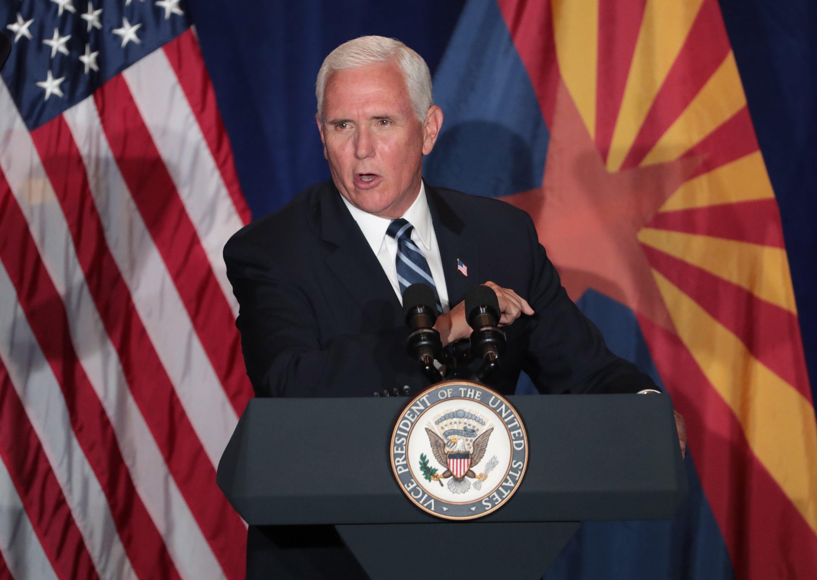 Vice President Mike Pence takes jab at Kamala Harris during Arizona visit