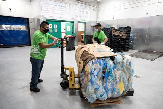 The masks collected at the Venetian Resort Las Vegas will be recycled to make shipping pallets, composite decking and composite lumber.
