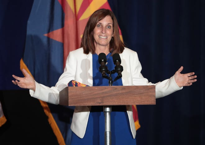 "Sen. Martha McSally, R-Ariz., speaks at a ""Latter-day Saints for Trump"" campaign event in Mesa, Ariz., on August 11, 2020."