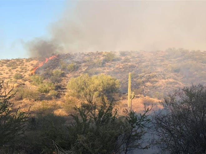 The Goldfield Fire burned 700 acres in the Tonto National Forest as of Aug. 10, 2020.