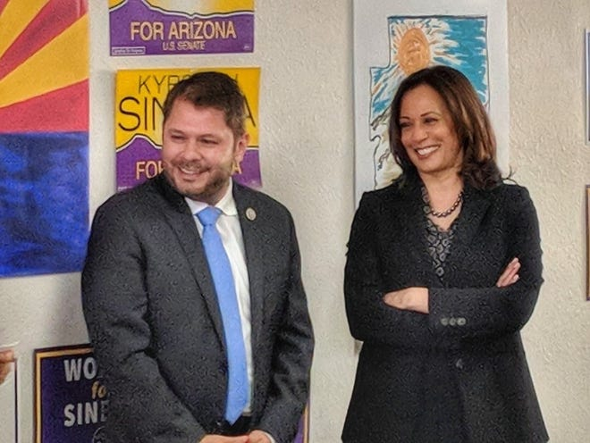 Rep. Ruben Gallego, D-Ariz., appears with Sen. Kamala Harris, D-Calif., on Oct. 12, 2018, at Democratic headquarters in Phoenix.