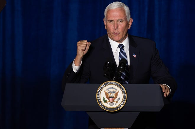 Vice President Mike Pence at the Cops for Trump event held at The Westin La Paloma Resort & Spa in Tucson, Arizona, on Aug. 11, 2020.