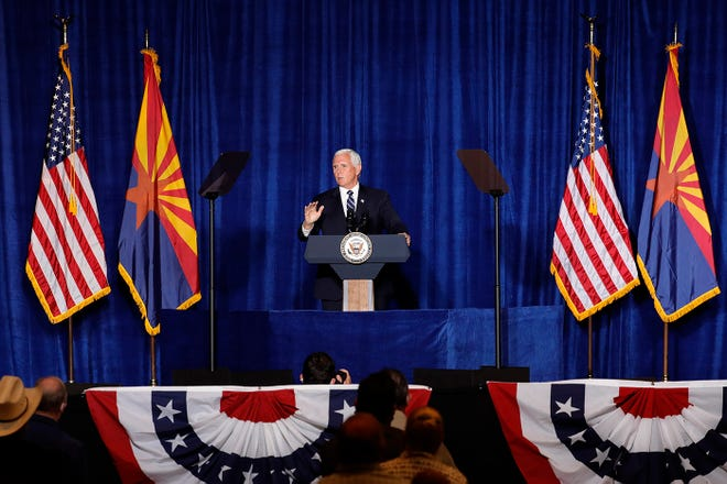 """Vice President Mike Pence speaks during a """"Cops for Trump"""" event Tuesday, Aug. 11, 2020, in Tucson, Arizona."""