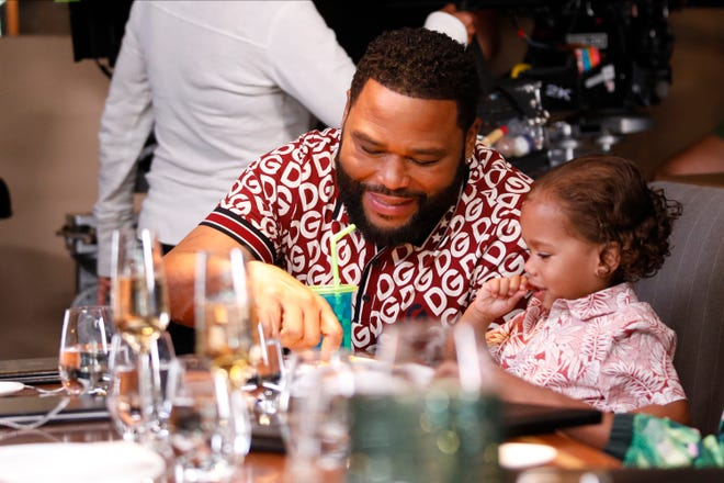 Anthony Anderson and August and Berlin Gross on the set of 'black-ish.' An unaired episode featuring a reference to President Trump as America's 'shady king,' is now on Hulu.