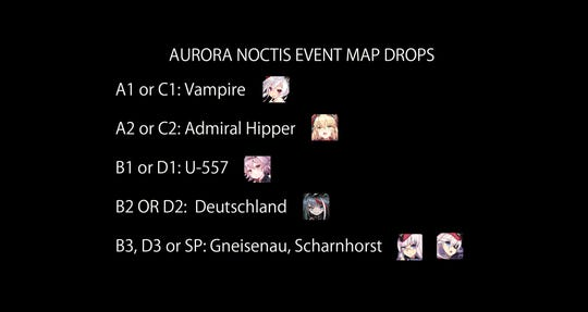 Key ship drops from maps in Azur Lane's Aurora Noctis event.
