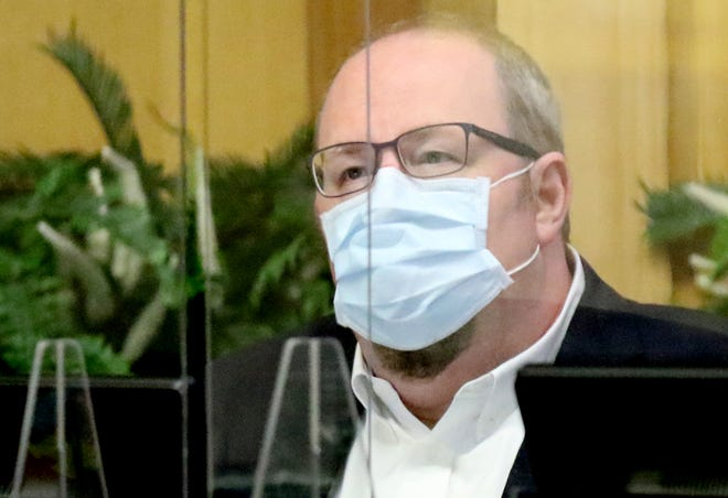 Shreveport city councilman Grayson Boucher during their meeting met at Government Plaza,  which has taken precautions in place to protect against coronavirus, on August 11, 2020.