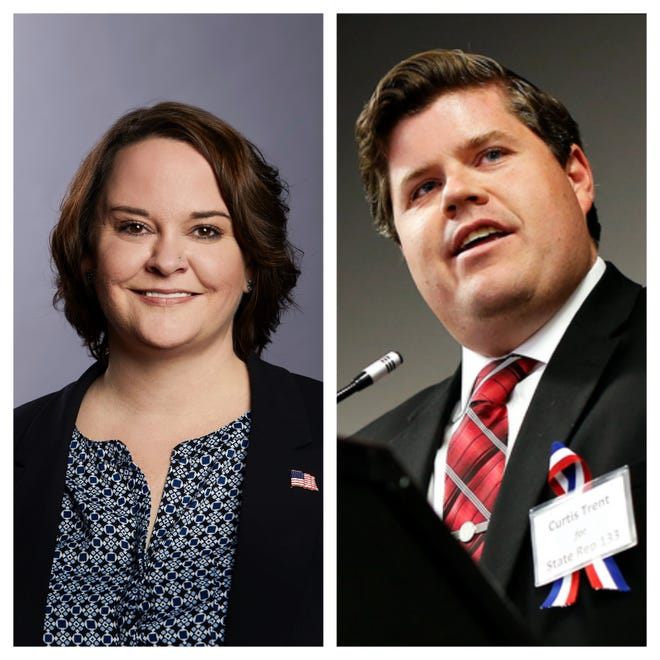 Cindy Slimp, left, and Rep. Curtis Trent, R-Springfield