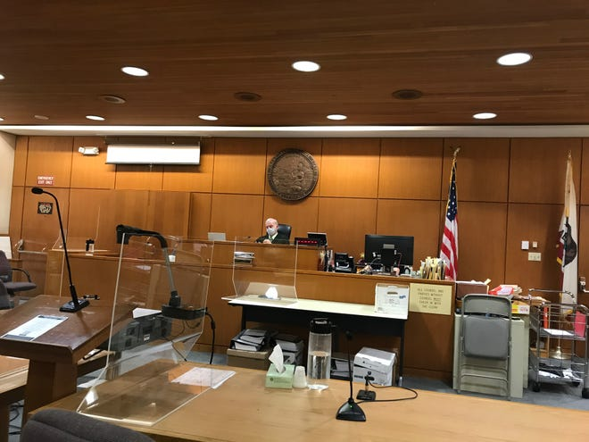 Ventura County Superior Court Judge Vincent O'Neill Jr. presides at a hearing Tuesday, Aug. 11 about next steps taken against Godspeak Calvary Chapel in Newbury Park and Pastor Rob McCoy. The church is holding indoor services despite a health order and a subsequent restraining order barring such gatherings.