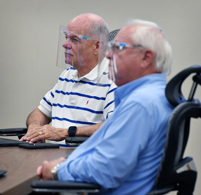 Wichita Falls ISD Board members Mark Lukert, left, and Mike Rucker listen during a school board meeting as shown in this Aug. 11, 2020, file photo.