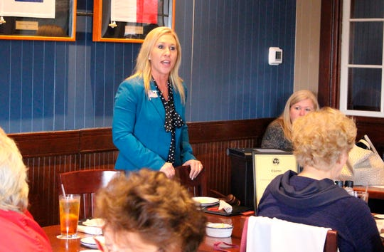 Marjorie Republican Taylor Greene speaks with a group of GOP women in Rome, Georgia, March 3, 2020.