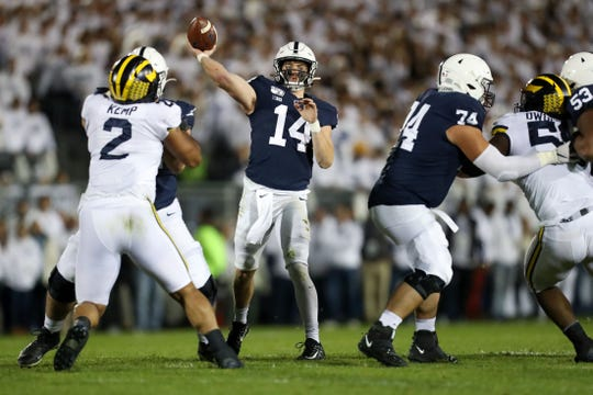 Penn State quarterback Sean Clifford throws a pass against Michigan during their game at Beaver Stadium. on Oct. 19, 2019.