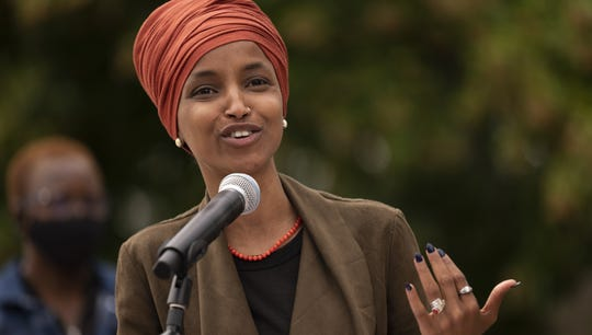 Rep.  Ilhan Omar, D-Minn., Speaks during a press conference in St.  Paul, Minnesota, August 5, 2020. Omar hopes to retain her seat as the district representative of the 5th Minnesota Congress.