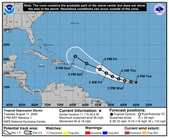 The predicted forecast track of Tropical Depression Eleven.