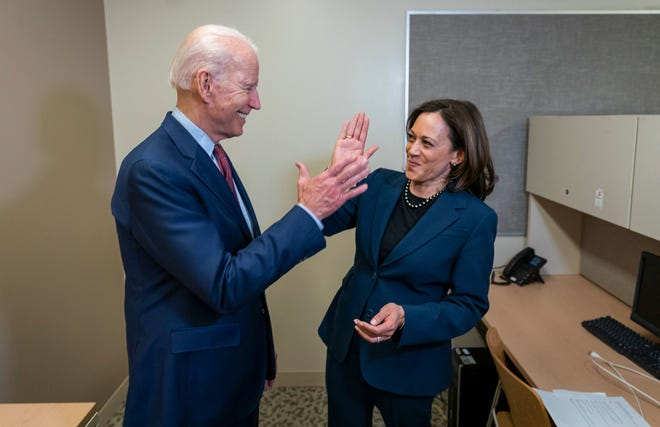 Presumptive Democratic presidential nominee Joe Biden with Sen. Kamala Harris on Aug. 11, 2020, after the campaign announced that she would be his running mate.