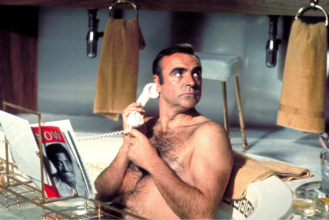 "Sean Connery had license to take his shirt off in films such as 1971's ""Diamonds Are Forever."""