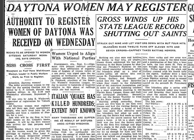 Front page of the Daytona Morning Journal in 1920 announcing that voter registration for women.