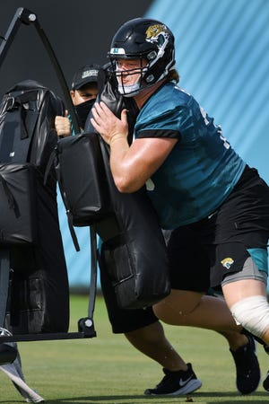 Jaguars #78, OL Ben Bartch goes through drills during Wednesday's practice session. The Jacksonville Jaguars practice session at the practice fields outside TIAA Bank Field in Jacksonville, Florida Wednesday August 12, 2020. [Bob Self/Florida Times-Union]