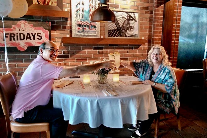 Linda Evanchyk and Mike McMain met 50 years ago at Pryor Middle School. But their romance wasn't sparked until 2010 over a casual drink at TGI Friday's in Mary Esther. They celebrate their 'date-iversary' every year on August 7 and this year, restaurant staff made sure it was extra memorable.