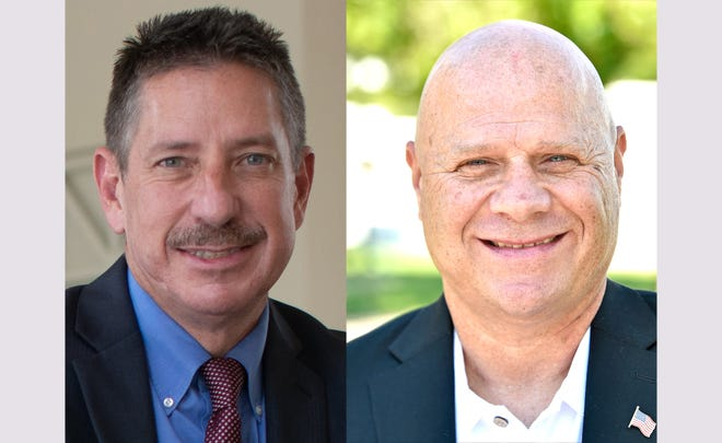 Col. Kurt Hoffman, left, chief deputy and general counsel of the Sarasota County Sheriff's Office, and retired Deputy Paul Fern, a former federal air marshal, will face-off Aug. 18, 2020, in a universal election that will decide the next sheriff.