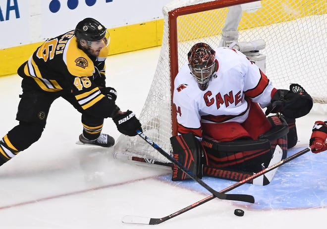 Carolina Hurricanes goalie Petr Mrazek, right, makes a save on a wrap-around attempt by Boston Bruins center David Krejci on Wednesday.