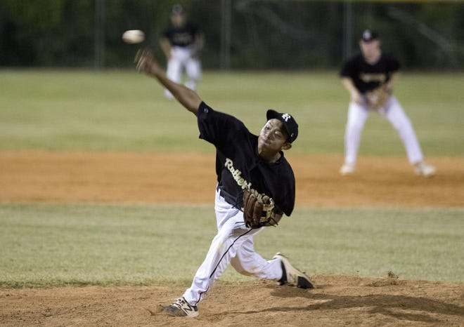 Rutherford's Sebastian Nguyen pitches against Walton on Saturday.