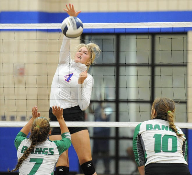 Coleman senior Abbi Allen (4) goes for a kill against Bangs on Tuesday, Aug. 11, 2020, at Coleman High School.