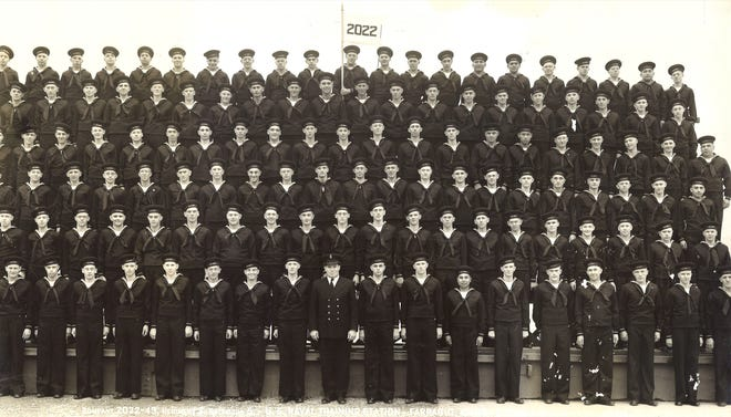 A 1943 photograph of Navy recruits in Farragut, Idaho. Guy W. Shaw is standing in the first row; he is the 10th man pictured from the left