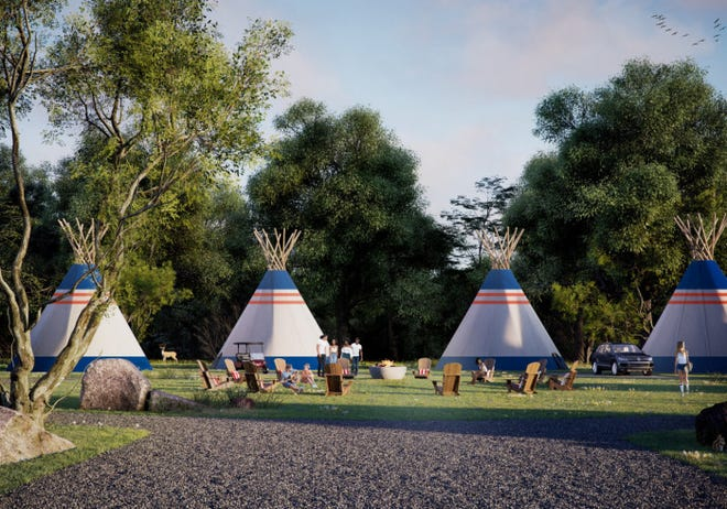 "An artist's rendering of the American Indian-style luxury tipis being built at the new Camp Bespoke ""glamping'' campgrounds in Williamstown, Ky. that will rent for $225 a night."