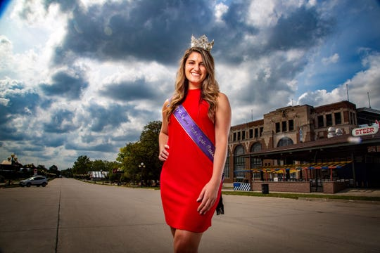 2019 Iowa State Fair Queen Hannah Koellner stands for a photo at the fair ground Wednesday, Aug. 12, 2020. Koellner will be the first to serve as the State Fair Queen for the second year in a row.