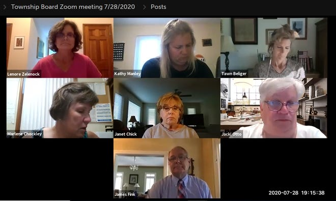 A screenshot shows a recording of the Northfield Township Board of Trustee meeting  on July 28, 2020. The board adjourned the meeting because members of the public did not have the password.