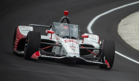 Andretti Herta Autosport with Curb-Agajanian driver Marco Andretti (98) rounds turn one during the first day of practice for the 104th Indianapolis 500 at Indianapolis Motor Speedway on Wednesday, Aug. 12, 2020.