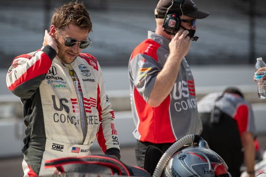 Andretti Herta Autosport with Curb-Agajanian driver Marco Andretti (98) exits his car after the first day of practice for the 104th Indianapolis 500 at Indianapolis Motor Speedway on Wednesday, Aug. 12, 2020.