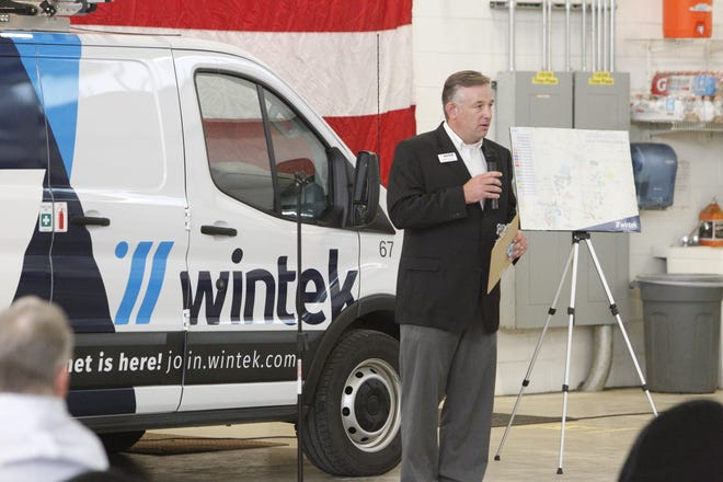 Rob Ford, communications director for Wintek  powered by Tipmont, during a celebration of completing a portion of its fiber-optic, high-speed internet that was partially funded by a state grant.